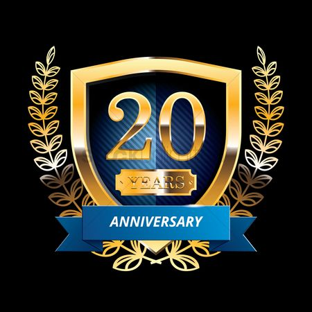 20 years : 20 years anniversary label with ribbon