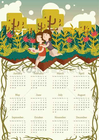 Oct : 2017 girls in a park calendar