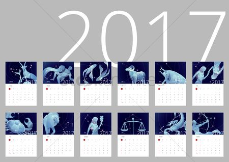 Oct : 2017 horoscope calendar set