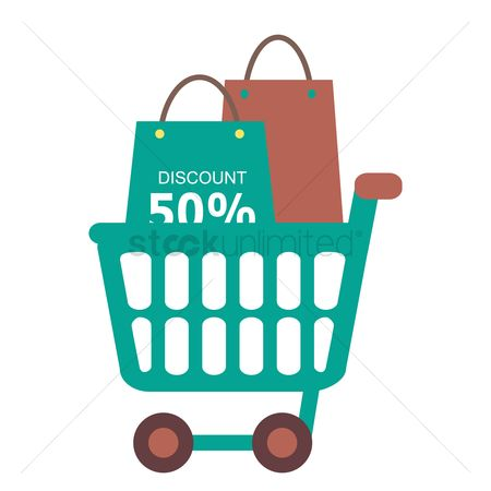 E commerces : 50 percent discount and shopping bags in a shopping cart