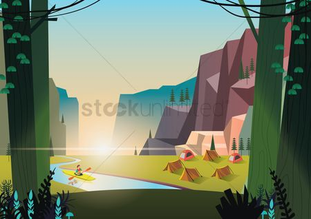 Tents : A campsite by the river
