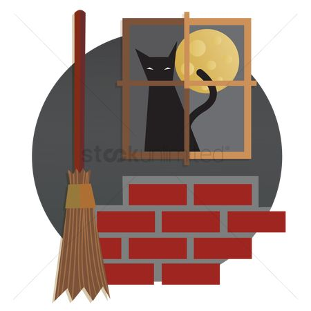 Brooms : A cat at the window and a broom stick