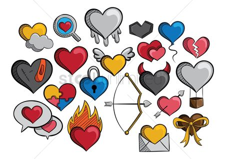 Drips : A collection of different types of hearts