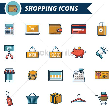 Shopping cart : A collection of shopping icons