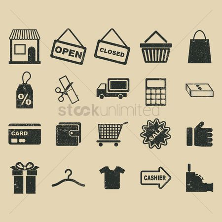 Register : A collection of shopping related icons