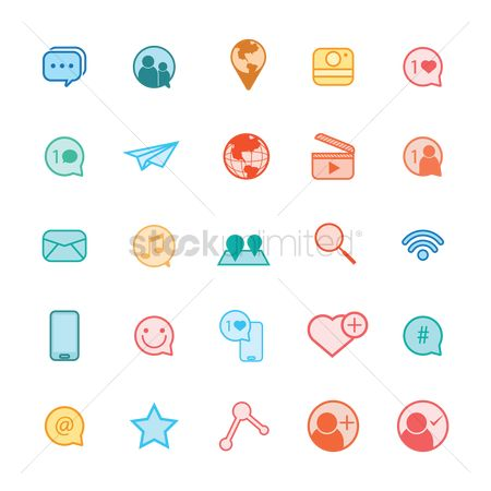 Comment : A collection of social media icons