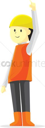 Builder : A construction worker with a raised hand