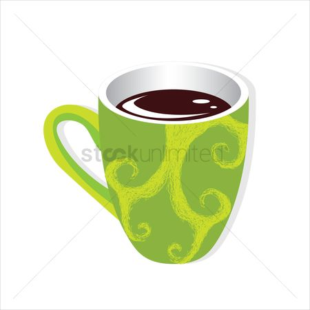Background : A cup of coffee on white background