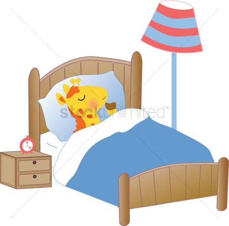Indoor : A giraffe sleeping in bed