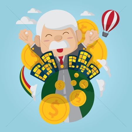 Wealth : A happy rich old businessman in the city