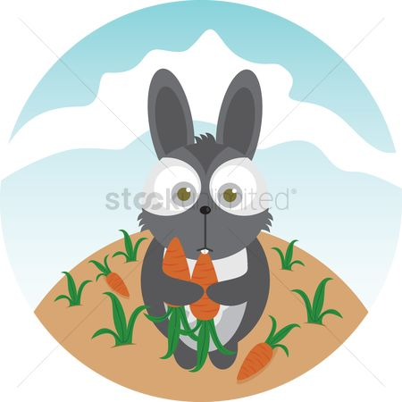Hare : A rabbit and carrots