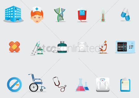 Wheelchair : A set of medical icons