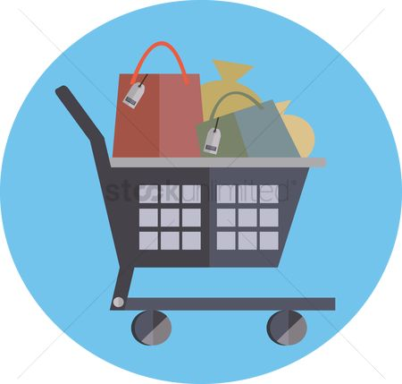 Hypermarket : A shopping cart full of items