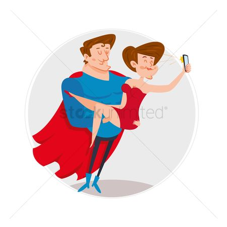 Posing : A super hero and a woman taking selfie