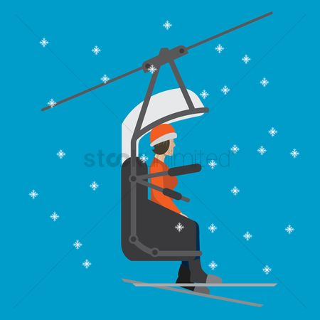 Skiing : A woman on a ski lift