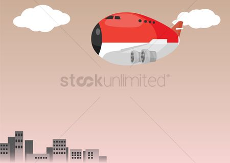 Aeroplanes : Aeroplane over a sky background
