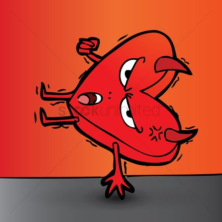 Annoy : Agitated cartoon devil balancing on one hand