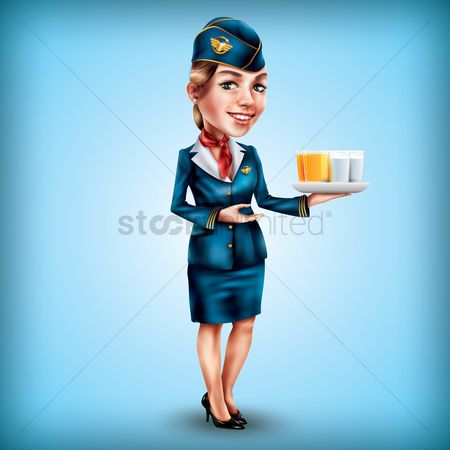 Servings : Air hostess serving drinks