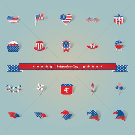 Usa map : American independence day icons