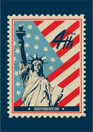 Countries : American independence day postage stamp