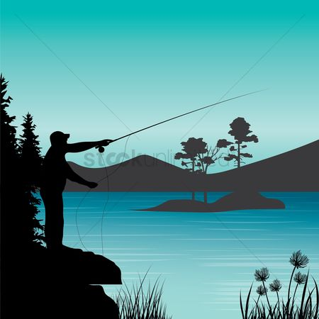 Recreation : Angler fishing by the river