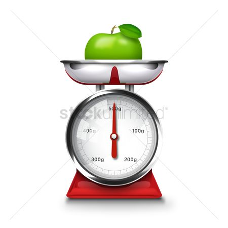 Weight : Apple on weigh machine