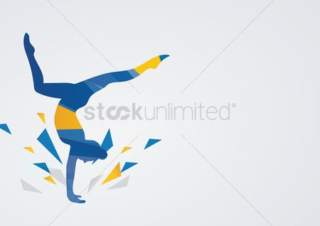 Athletes : Artistic gymnastic in action