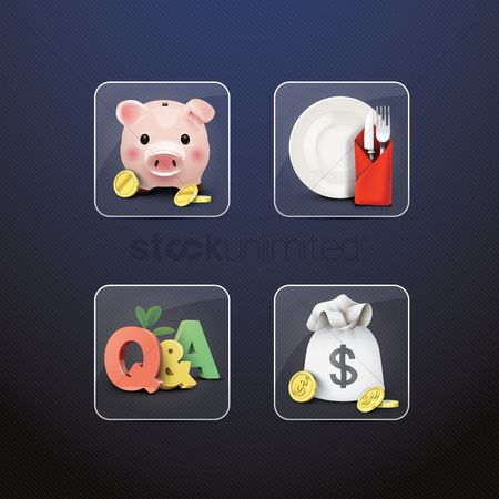 Currencies : Assorted icons