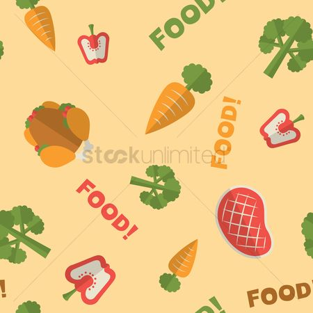 Carrots : Assorted seamless food pattern background