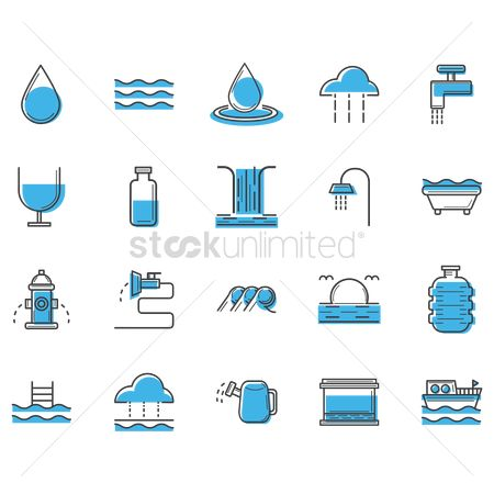 Faucets : Assorted water icons set
