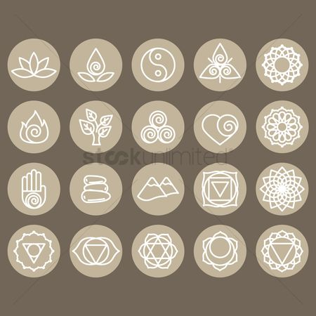 Mountains : Assorted zen and yoga icon set