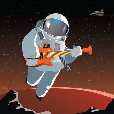 Musicals : Astronaut with a guitar on a planet