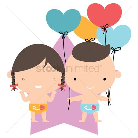 Heart : Babies with heart balloons