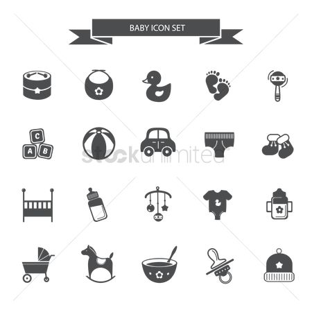 Drums : Baby icon set