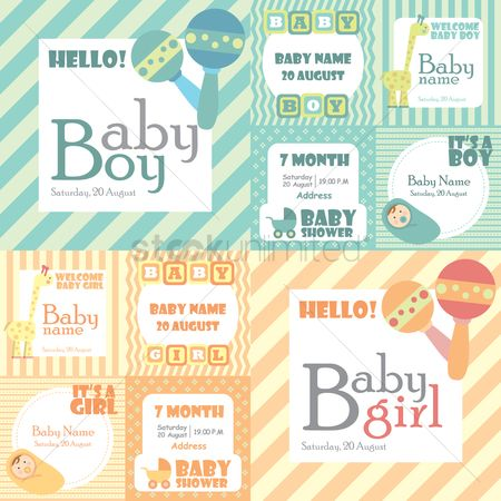 Invitations : Baby shower card collection