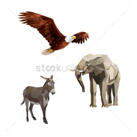 America : Bald eagle  donkey and elephant