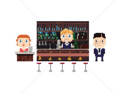Pub : Bar interior set