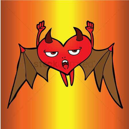 Heart : Bat winged cartoon devil