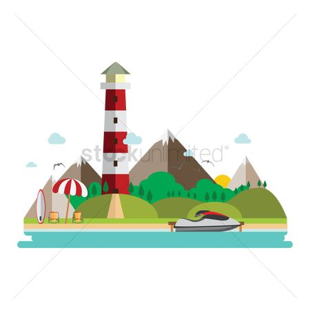 Lighthouses : Beach landscape