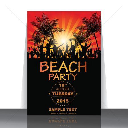 Red : Beach party flyer
