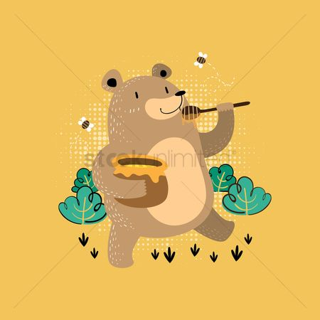 Eat : Bear eating honey