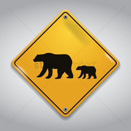 Warning : Bears crossing sign