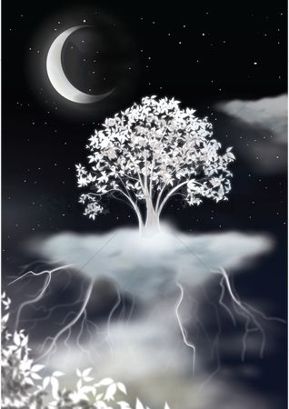 Moon : Beautiful tree floating in sky