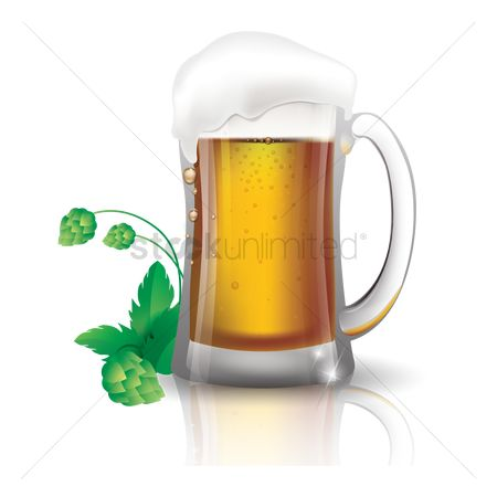 Beer : Beer mug with hop