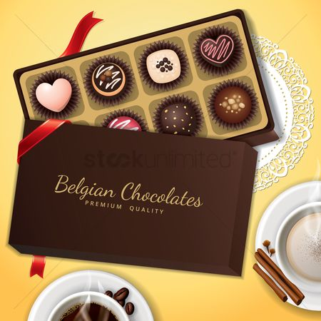 Coffee cups : Belgium chocolates in a box