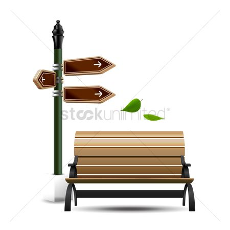 Wooden sign : Bench near blank sign board