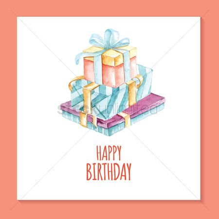 Gifts : Birthday card with gift box