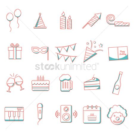 Microphone : Birthday icons collection