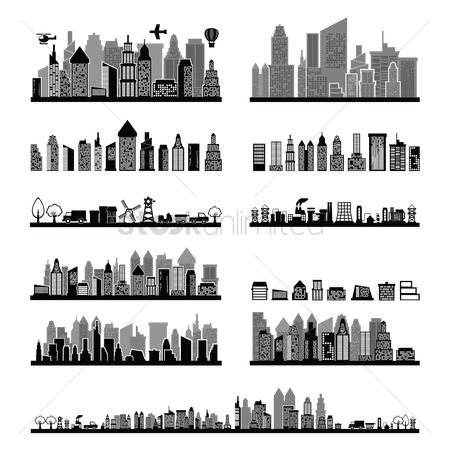 Linear : Black and white city skyline collection