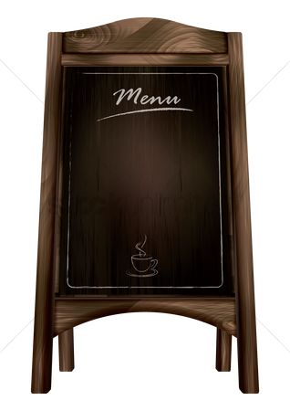 Eat : Blank blackboard menu stand